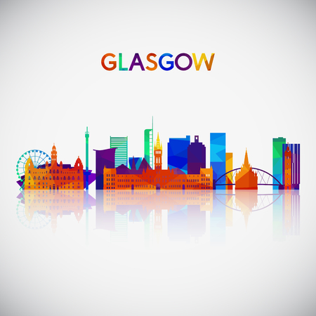 Glasgow skyline silhouette in colorful geometric style. Symbol for your design. Vector illustration.