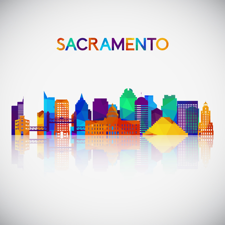 Sacramento skyline silhouette in colorful geometric style. Symbol for your design. Vector illustration. Illustration