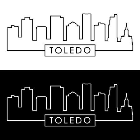 Toledo skyline. Linear style. Editable vector file.