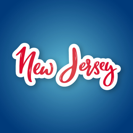 New Jersey - hand drawn lettering name of USA state. Sticker with lettering in paper cut style. Vector illustration. Vettoriali