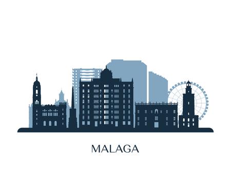 Malaga skyline, monochrome silhouette. Vector illustration.
