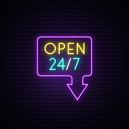 Open 24/7 neon sign. Light vector banner. Realistic glowing design element in arrow frame for around clock open Club, Bar, Cafe or Store. Vector illustration. Stok Fotoğraf - 124886217