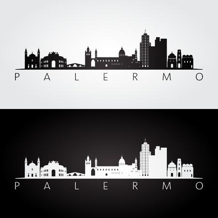 Palermo skyline and landmarks silhouette, black and white design, vector illustration. Illustration