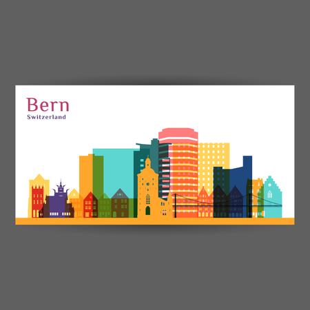 Bergen city architecture silhouette. Colorful skyline. City flat design. Vector business card. 向量圖像