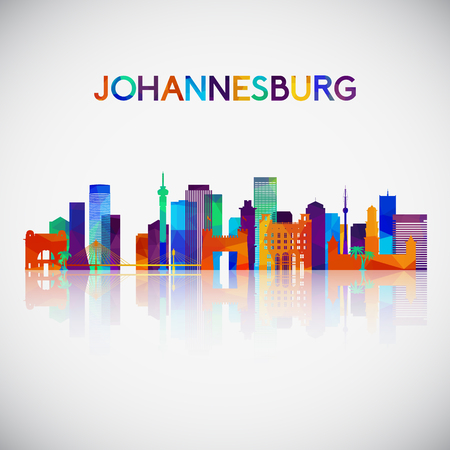 Johannesburg skyline silhouette in colorful geometric style. Symbol for your design. Vector illustration.