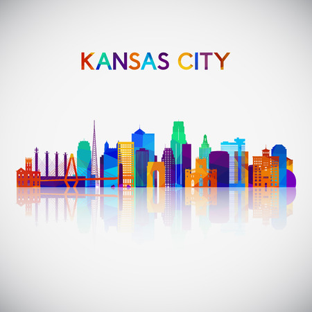 Kansas City skyline silhouette in colorful geometric style. Symbol for your design. Vector illustration.