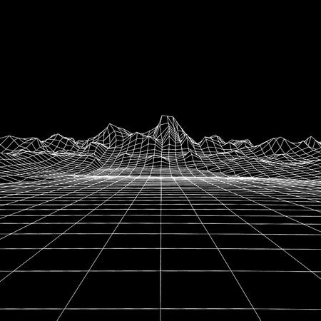 Fondo geometrico astratto con il paesaggio di montagna digitale. Griglia di tecnologia 3d. Illustrazione futuristica vettoriale Vettoriali