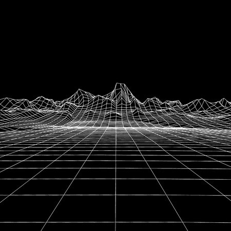 Abstract geometric background with digital mountain landscape. Tehnology 3d grid. Vector futuristic illustration