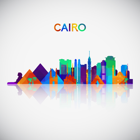 Cairo skyline silhouette in colorful geometric style. Symbol for your design. Vector illustration.