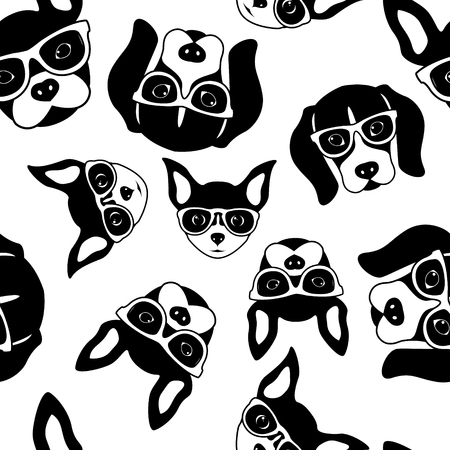 Seamless pattern of cute dog faces. French Bulldog, Beagle and Chihuahua. Black white vector illustration.