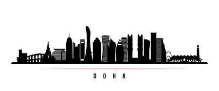Doha city skyline horizontal banner. Black and white silhouette of Doha city, Qatar. Vector template for your design. Vettoriali