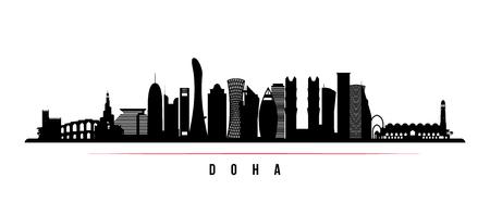 Horizontale Fahne der Skyline der Stadt Doha. Schwarze und weiße Silhouette der Stadt Doha, Katar. Vektorvorlage für Ihr Design.