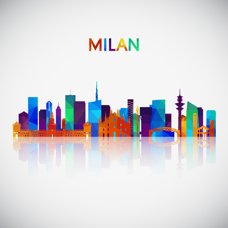 Milan skyline silhouette in colorful geometric style. Symbol for your design. Vector illustration. Çizim