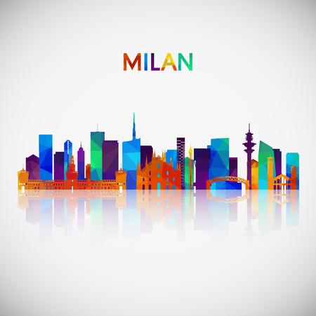 Siluetta dell'orizzonte di Milano in stile geometrico colorato. Simbolo per il tuo design. Illustrazione vettoriale.