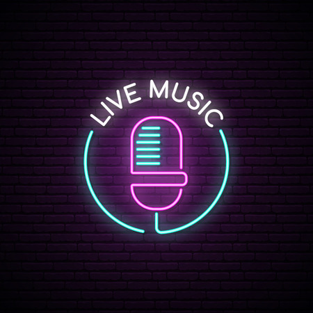Microphone neon sign. Live music bright emblem. Light mic on the brick wall background. Vector illustration in neon style.