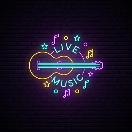 Signo de música en vivo de neón. Letrero de luz con inscripción de guitarra y música en vivo. Banner de publicidad brillante de vector.