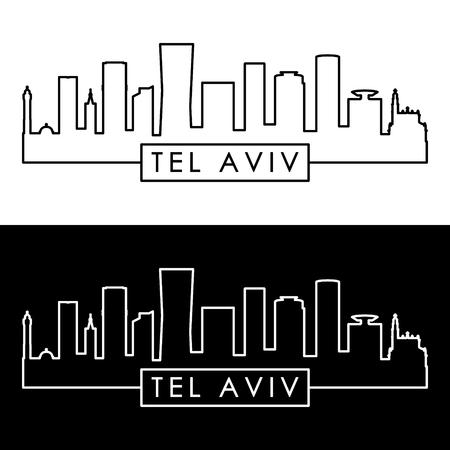 Tel Aviv skyline. Linear style. Editable vector file.