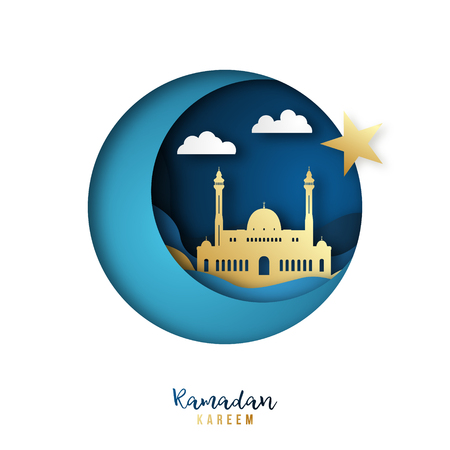 Ramadan Kareem banner. Golden mosque and crescent in paper cut style. Islamic beautiful greeting card.