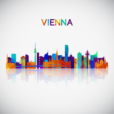 Vienna skyline silhouette in colorful geometric style. Symbol for your design. Vector illustration. Stockfoto - 122519255