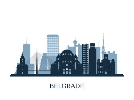 Belgrade skyline, monochrome silhouette. Vector illustration. Vektorové ilustrace