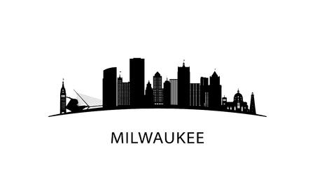 Milwaukee city skyline. Black cityscape isolated on white background. Vector banner. Vector Illustration
