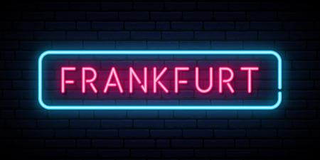 Frankfurt neon sign. Bright light signboard. Vector banner.