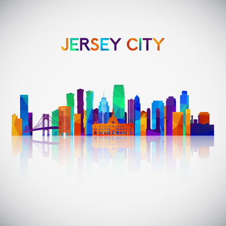 Jersey City skyline silhouette in colorful geometric style. Symbol for your design. Vector illustration.