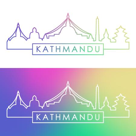 Kathmandu skyline. Colorful linear style. Editable vector file.