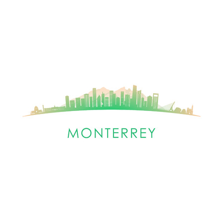 Monterrey skyline silhouette. Vector design colorful illustration.
