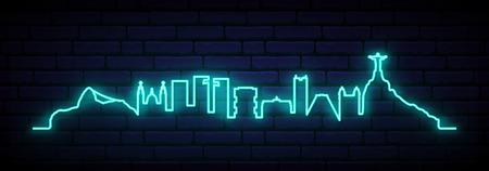 Blue neon skyline of Rio de Janeiro city. Bright Rio long banner. Vector illustration.