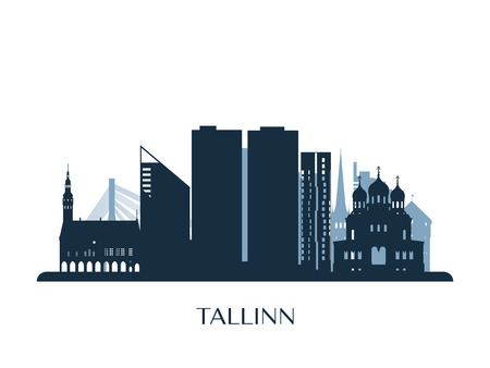 Tallinn skyline, monochrome silhouette. Vector illustration.