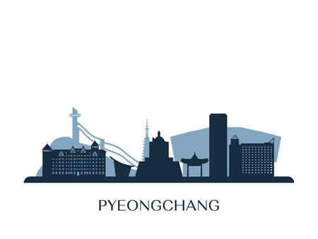 Pyeongchang skyline, monochrome silhouette. Vector illustration.