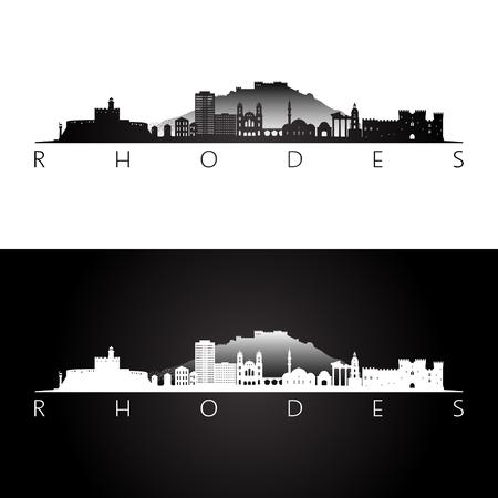 Rhodes, Greece skyline and landmarks silhouette, black and white design, vector illustration.