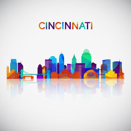 Cincinnati skyline silhouette in colorful geometric style. Symbol for your design. Vector illustration. Vetores