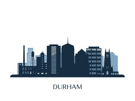 Durham skyline, monochrome silhouette. Vector illustration.