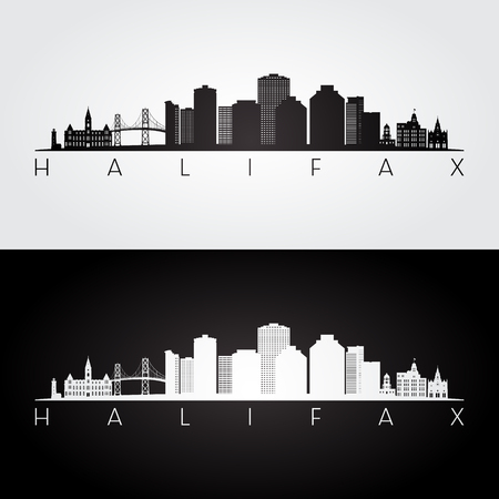 Halifax skyline and landmarks silhouette, black and white design, vector illustration.