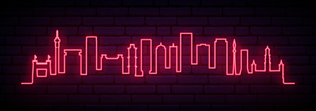 Red neon skyline of Johannesburg city. Bright Johannesburg long banner. Vector illustration. Stock Vector - 123746015
