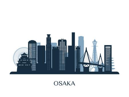 Osaka skyline, monochrome silhouette. Vector illustration. Vectores