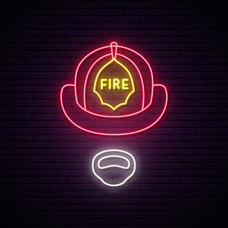 Fireman in helmet glowing neon sign. Vector illustration.