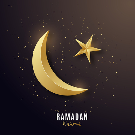 Golden 3d luxury crescent. Greeting banner on Ramadan Kareem. Design flyer. Vector illustration. Stock Illustratie