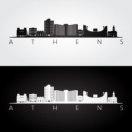 Athens, Georgia USA skyline and landmarks silhouette, black and white design, vector illustration.