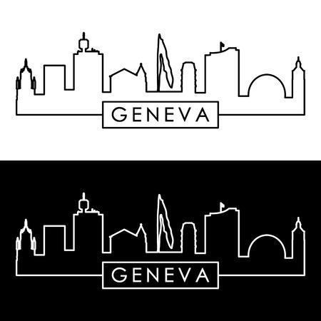 Horizonte de Ginebra. Estilo lineal. Archivo vectorial editable.