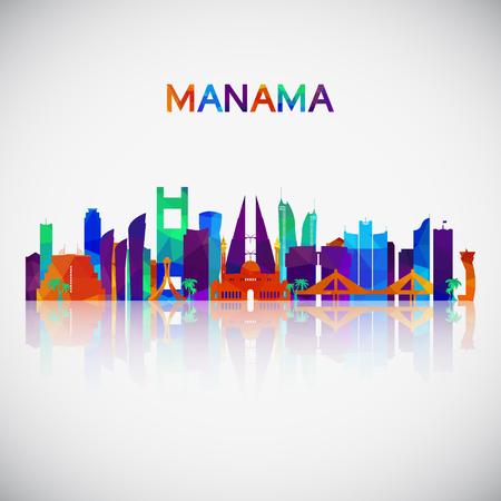 Silhouette d'horizon de Manama dans un style géométrique coloré. Symbole pour votre conception.