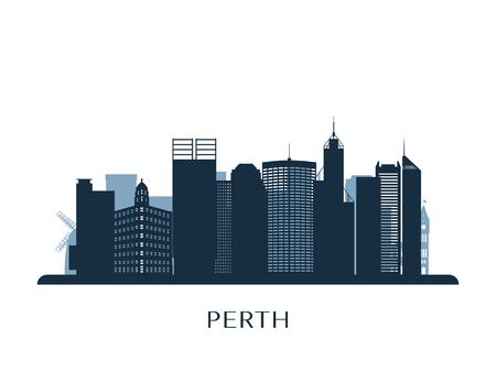 Perth skyline, monochrome silhouette. Stockfoto - 122755307