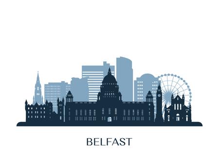 De horizon van Belfast, zwart-wit silhouet.