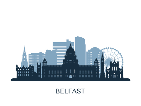 Belfast skyline, monochrome silhouette.