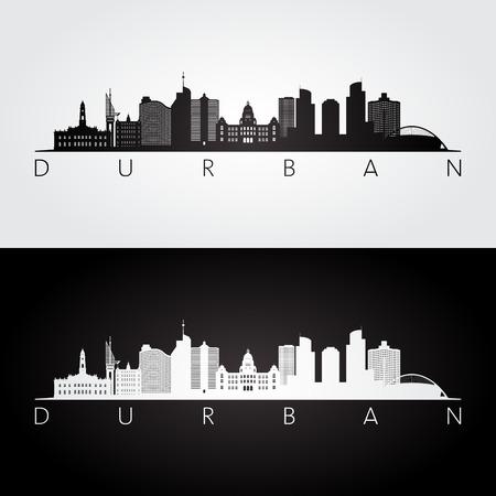 Durban skyline and landmarks silhouette, black and white design, illustration. Illustration