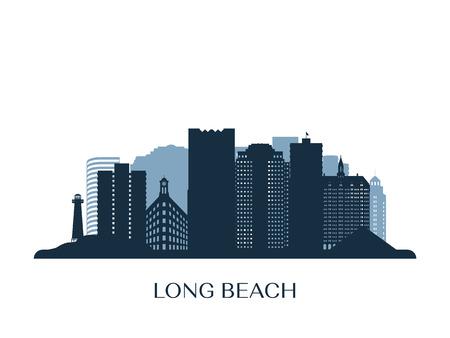 Long Beach skyline, zwart-wit silhouet.