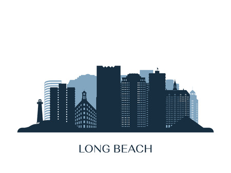 Panoramę Long Beach, monochromatyczna sylwetka.
