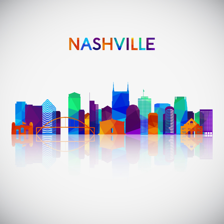 Nashville skyline silhouette in colorful geometric style. Symbol for your design. Vector illustration.